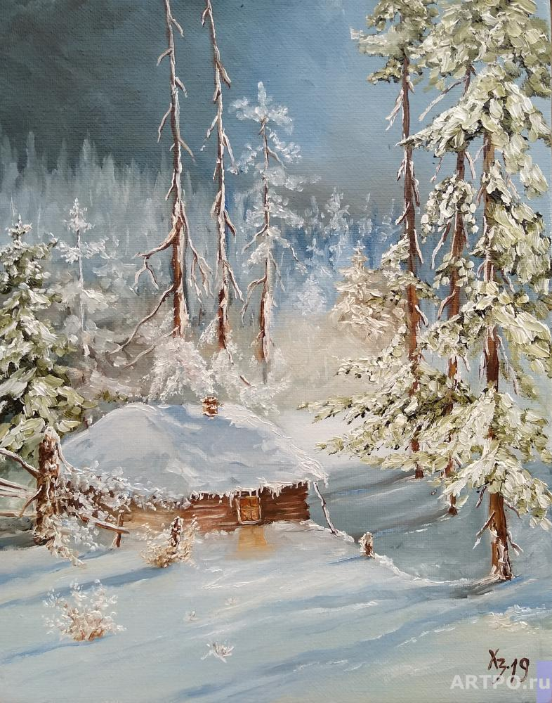Hodorenko-Zatonskiy Sergej. Cabin in the winter forest