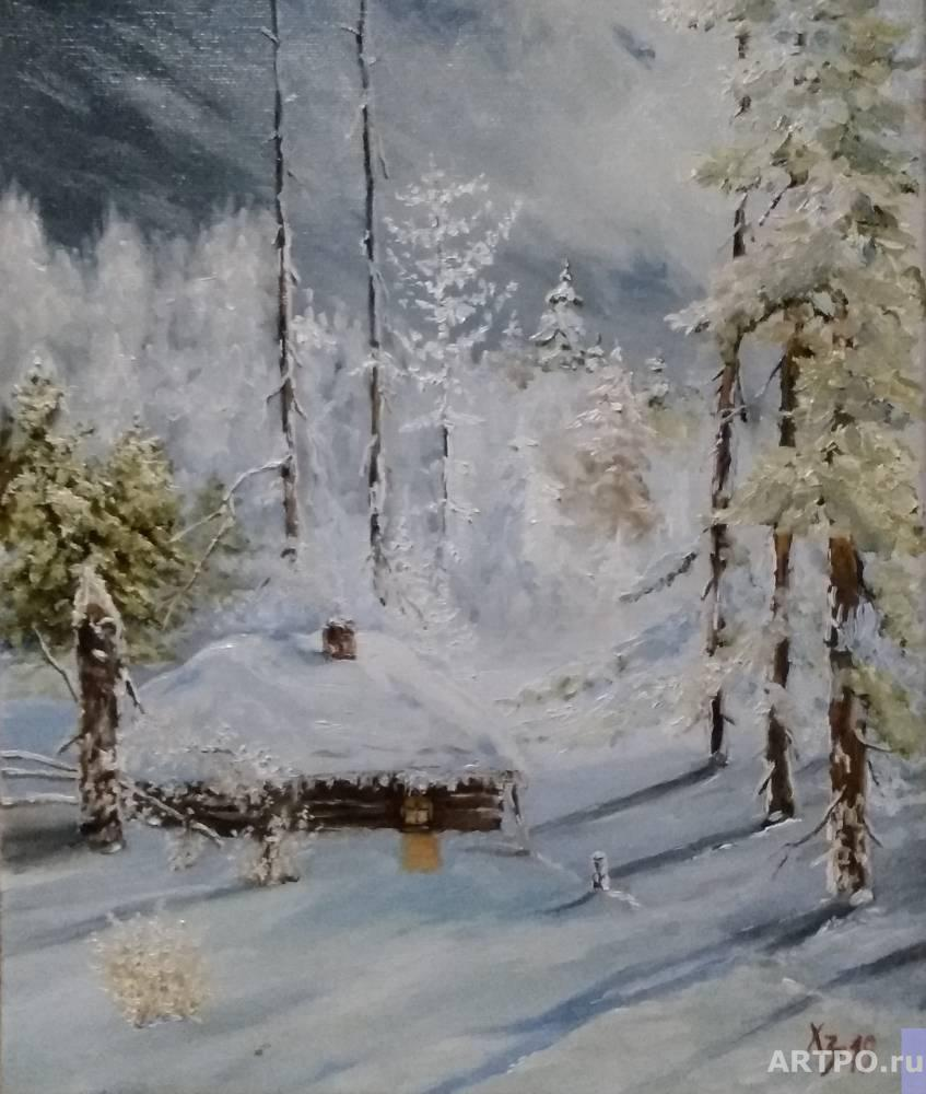 Hodorenko-Zatonskiy Sergej. Winter forest. Hut
