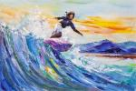 Surfing. On the crest of a sea wave