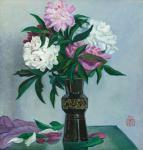 Peonies in a black vase