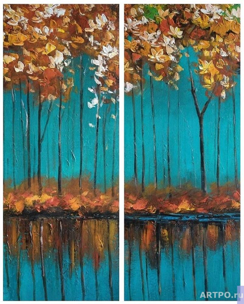 Dupree Brian. Autumn trees on a turquoise background. Diptych