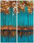 Autumn trees on a turquoise background. Diptych