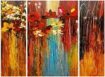 Abstraction with red and yellow flowers. Triptych