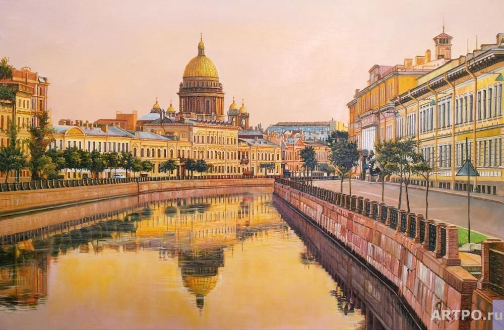 Romm Alexander. View of St. Isaac's Cathedral from the embankment. Sunset