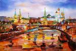 View of the Kremlin through the Big Stone Bridge. Evening