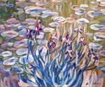 Free copy of Claude Monet 's painting Irises and Water Lilies, 1917