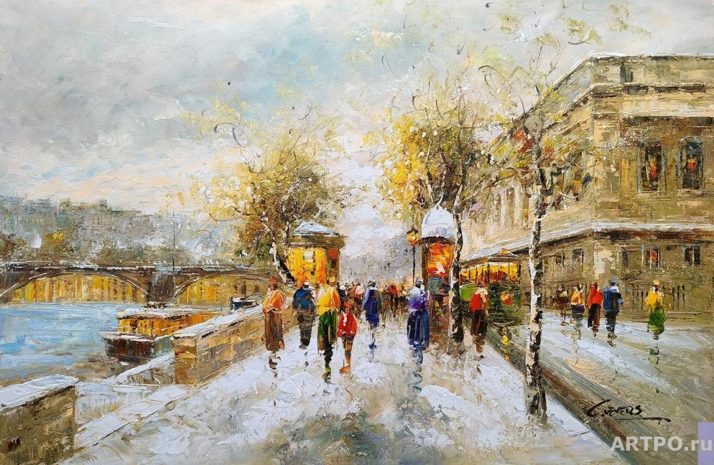Vevers Christina. The landscape of Paris by Antoine Blanchard. On the banks of the Seine, Paris