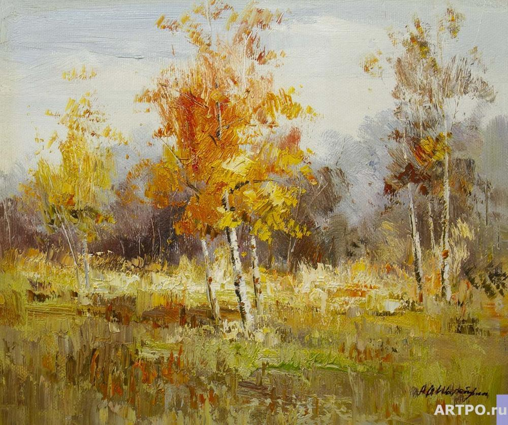 Sharabarin Andrey. Birch trees with yellow carvings glisten in blue azure ... N2