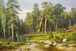 A copy of Ivan Shishkin's painting. Pine Forest. Mast forest in the Vyatka province