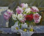 Still life with peonies, pear and apples