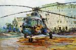 Helicopter on the landing site