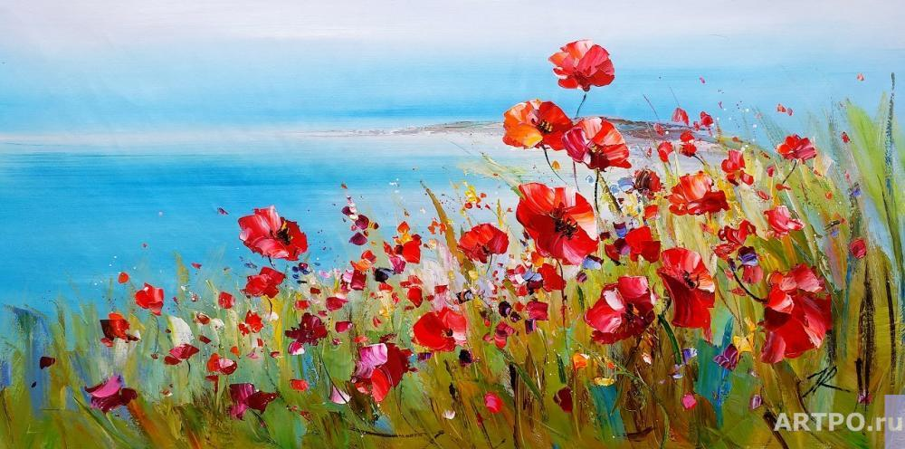 Rodriguez José. Poppies and the sea. Scarlet and turquoise