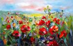 Landscape. Poppies