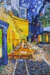 A copy of Van Gogh's painting. The terrace of the night cafe Place du Forum in Arles