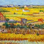 A copy of Van Gogh's painting. Harvest in La Cro, and Montmajeur in the background