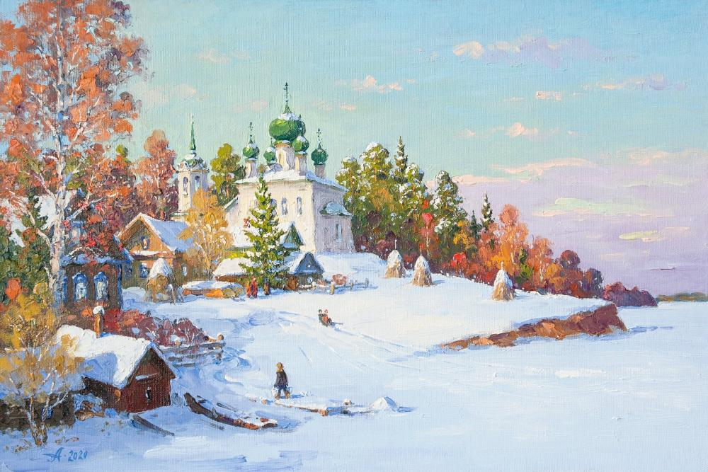 Alexandrovsky Alexander. The Old Ladoga, river. Russian winter