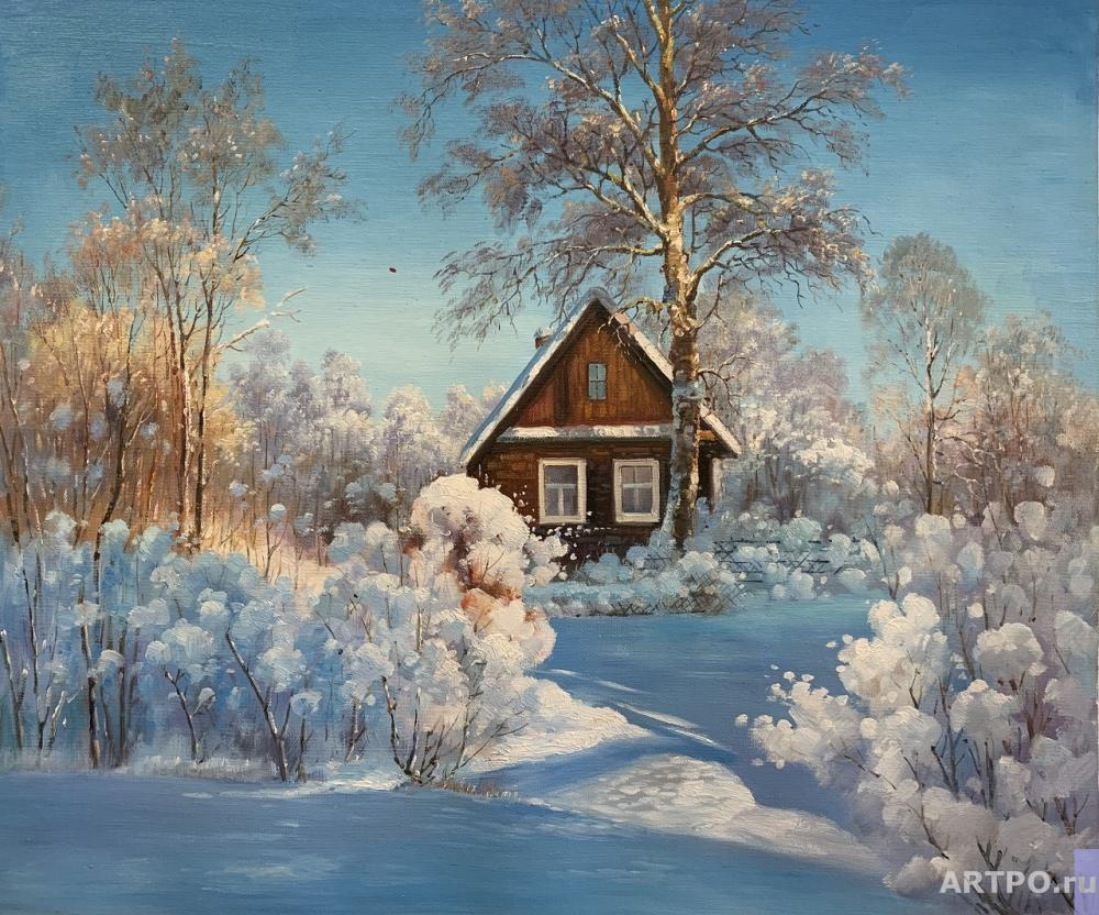 Romm Alexander. House in the village in winter