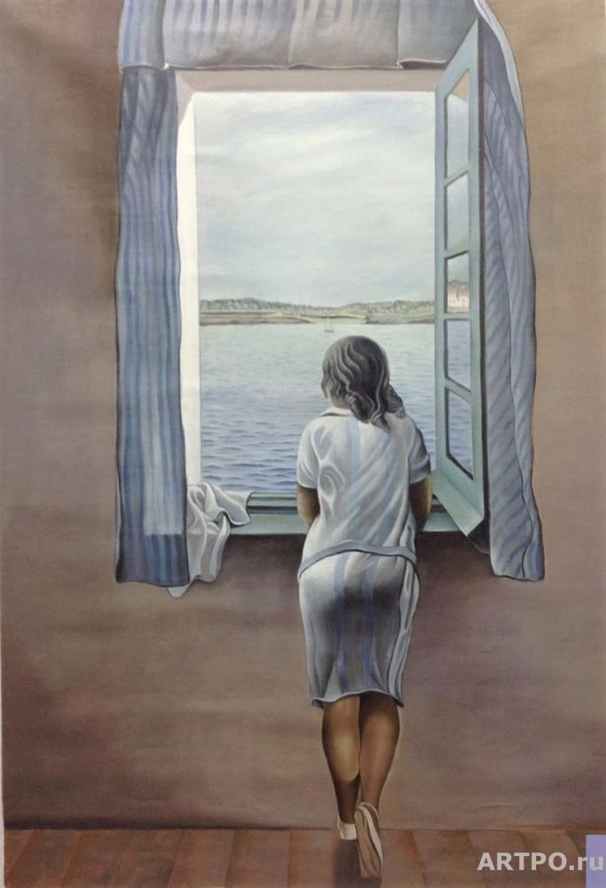 Kamskij Savelij. A copy of Salvador Dali's painting. A woman's figure at the window