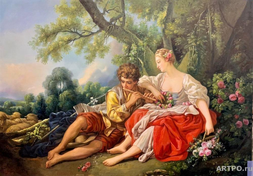 Kamskij Savelij. Copy of the painting by Francois Boucher. Shepherd playing the pipe to the shepherdess