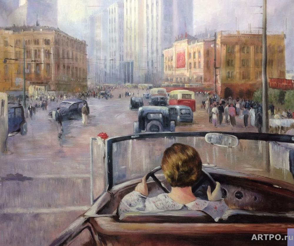 Kamskij Savelij. Copy of Yuri Pimenov's painting. New Moscow , 1937