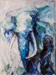 Portrait of an elephant. Blue tone