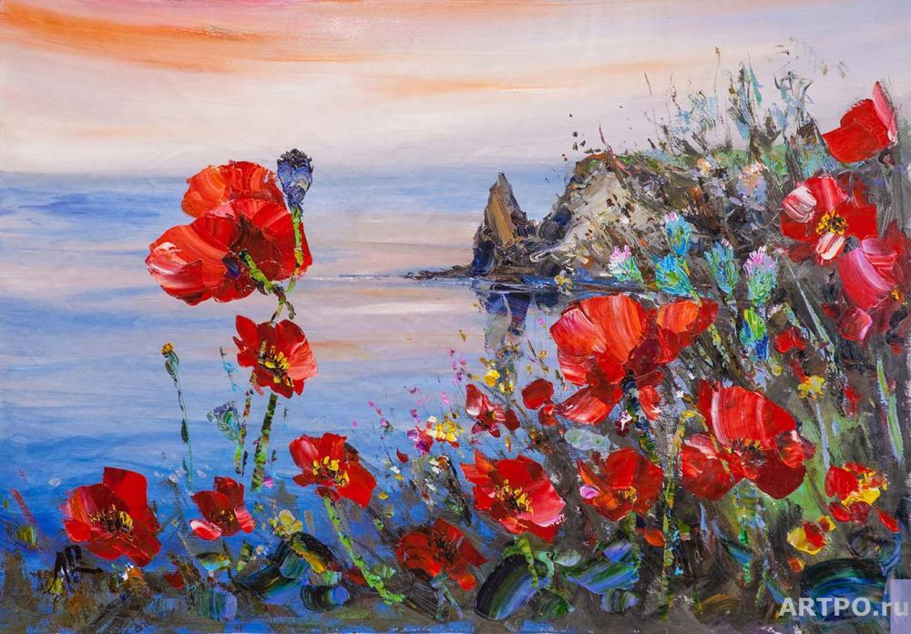 Rodriguez José. Poppies on the background of the sea N2