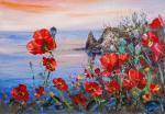 Poppies on the background of the sea N2