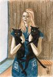 Girl with Cats. Sketch.