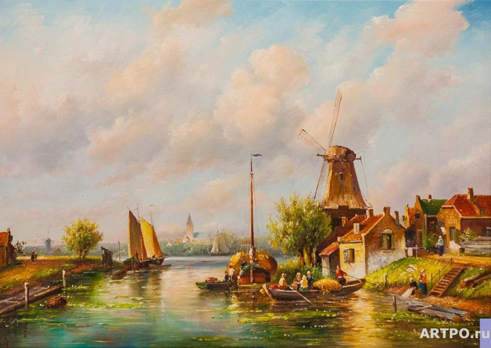 Romm Alexander. Dutch landscape with a mill N2