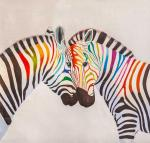 Zebras, colorful as a rainbow