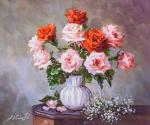 Bouquet of pink and coral roses in a vase