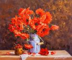 Still life with poppies and cherries