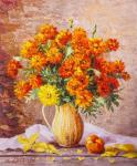 Bouquet of marigolds in a jug