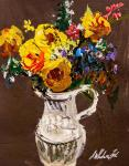 Bouquet of yellow roses in a jug