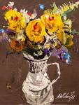 Bouquet of yellow roses in a jug N2