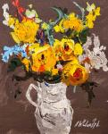 Bouquet of yellow roses in a jug N3