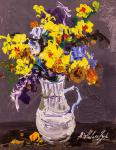 Colorful bouquet in a jug