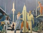 A copy of the painting by A. Deineka. Conquerors of Space