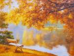 In the autumn park. Golden day