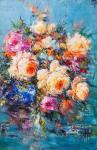Bouquet in the style of impressionism. In shades of turquoise