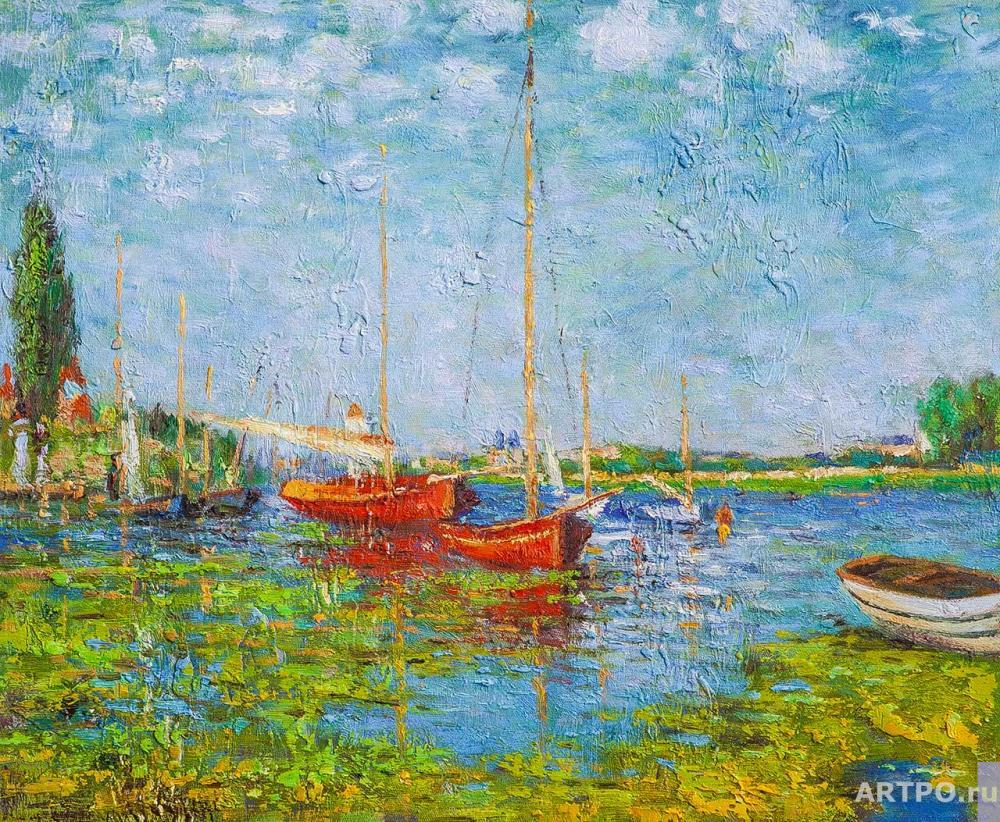 Kamskij Savelij. Copy of the painting. Red boats in Arzhantey