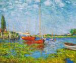 Copy of the painting. Red boats in Arzhantey