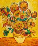 Copy of Van Gogh's painting. Vase with fifteen sunflowers, 1888