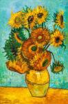 A copy of Van Gogh's painting. Vase with twelve sunflowers, 1888