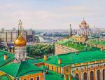 Walking on the roofs of Moscow. View of the Cathedral of Christ the Savior