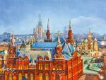 View of the Historical Museum and the Cathedral of St. Basil the Blessed