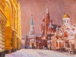 Walks in snowy Moscow. View from Nikolskaya street to Red Square