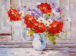 Bouquet with poppies in a white jug N2