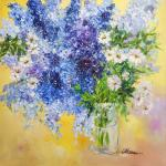 Delphinium and daisies