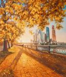 Autumn in the city. View of Moscow City from the embankment